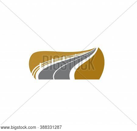 Road Icon, Asphalt Roadside Sign, Avenue Or Highway, Vector Symbol. Road Way Path Or Traffic Drive W