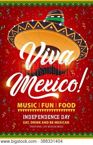 Viva Mexico Vector Flyer With Mexican Sombrero, Mustaches And Confetti. Independence Day Celebration