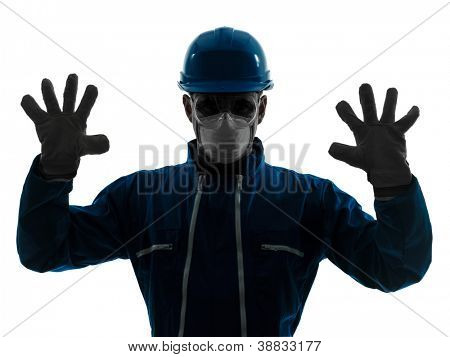 one caucasian man construction protective workwear silhouette portrait in studio on white background