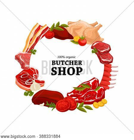 Butcher Shop Raw Meat Round Banner. Pork Ribs, Veal Steak And Filet Mignon, Chicken Or Turkey Meat,