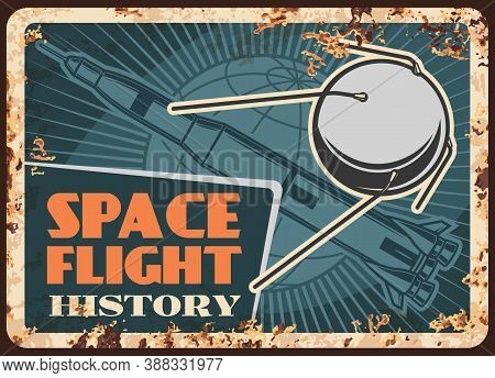 Space Flight History Vector Rusty Metal Plate, Satellite, Rocket Or Missile Carrier On Earth Orbit V