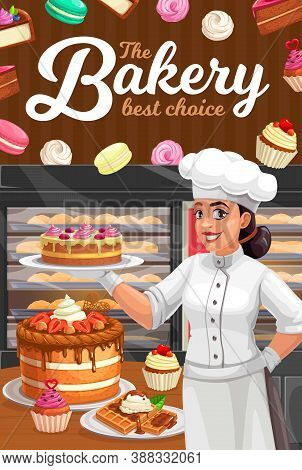 Confectioner In Patisserie Presenting Vector Desserts, Cakes And Bakery. Confectionery, Baker Shop W