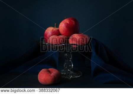 Apple And Paraguay Fruits On A Glass Pedestal Fruit Stand, Fruits Photography, Still Life Photograph