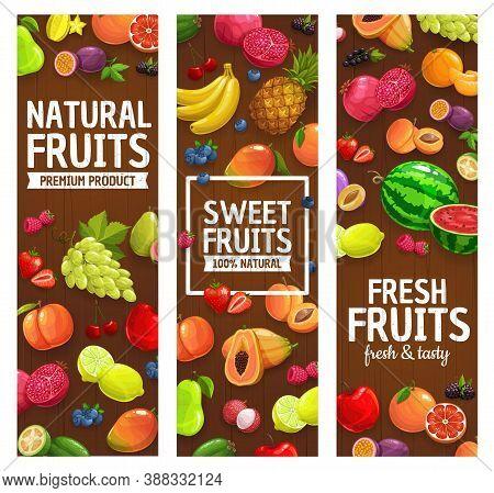 Natural Farm Fruits And Berries Banners. Grape, Lemon And Pomegranate, Feijoa, Papaya And Watermelon