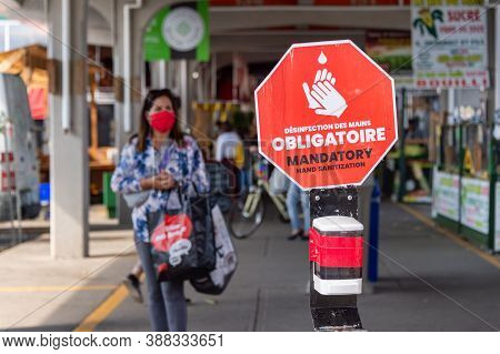 Montreal, Ca - 4 October 2020: Customers Wearing Coronavirus Face Masks At Jean Talon Market & Covid