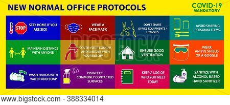 The Office Protocol Poster Or Public Health Practices For Covid-19 Or Health And Safety Protocols Or