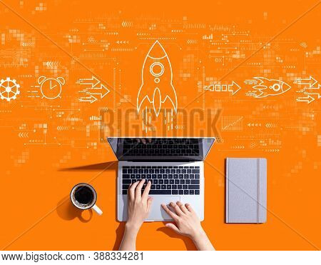 Rapid Growth Concept With Person Using A Laptop Computer