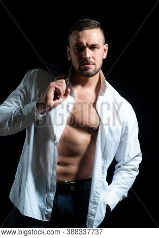 Portrait Of Stylish Handsome Young Man Undress Shirt. Fashion Guy. Naked Body, Nude Bare Torso
