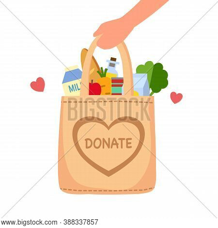 Sharing Food To People. Food Donation Concept. Man Hand Holding Bag Full Of Food In Flat Design Vect