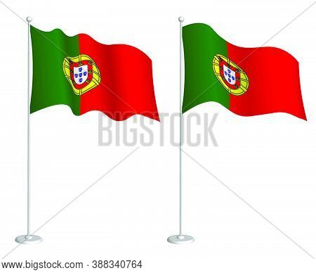Portugal Flag On Flagpole Waving In The Wind. Holiday Design Element. Checkpoint For Map Symbols. Is