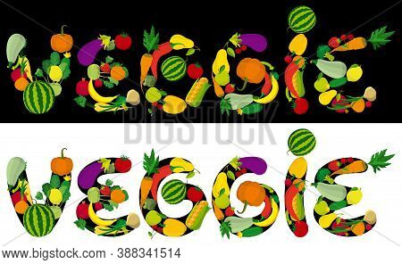 Illustration A Veggie Word Consisted Of Fruits, Vegetables, Berries. Font Of My Own Design