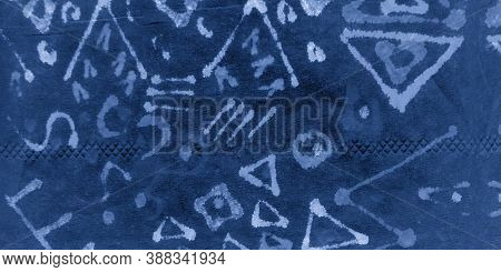 Indigo Abstract Ethnic Design. Artistic Abstraction. Space Watercolor Geometry. Sky Ethnic Abstracti