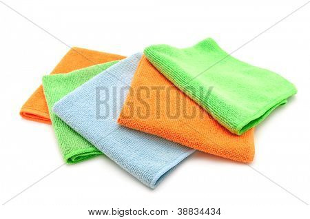 Colorful cloths microfiber isolated on a white background