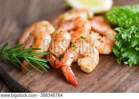 Salad Shrimp Grilled Delicious Seasoning Spices On Wooden Cutting Board Background Appetizing Cooked