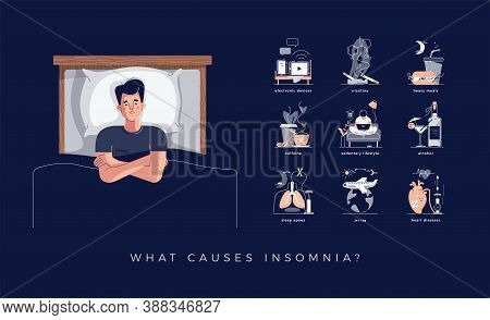 Insomnia Causes Vector Illustration Set. Young Man Lying N Bed. Reasons Of Insomnia: Electronic Devi