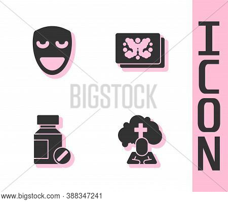 Set Man Graves Funeral Sorrow, Comedy Theatrical Mask, Sedative Pills And Rorschach Test Icon. Vecto