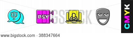 Set Psychology, Psi, , Psychologist Online And Comedy Theatrical Mask Icon. Vector