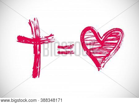 God Is Love greeting card. Cross equals heart shape creative logo. Religious christian logotype concept. Stroke symbol in brush and chalk monochrome grunge style. Isolated abstract graphic design template.