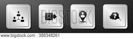 Set Project Team Base, Team Leader, Worker Location And Question Mark Icon. Silver Square Button. Ve