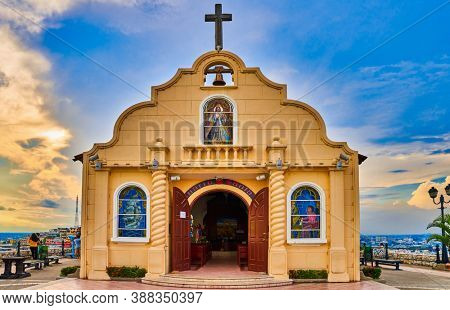 Guayaquil , Ecuador- March 8 , 2020 : Church of Santa Anna fort Las Penas district landmark of Guayaquil Ecuador in south america