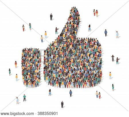 Like Symbol Made Of Many People, Large Crowd Shape. Group Of People Stay In Thumb Up Like Sign Forma