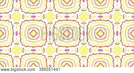 Azulejo Ornament. Boho Motif Fabric Print Design. Ethnicity Wallpaper. Wave Red And Yellow Lines. Ab