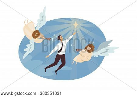 Religion, Christianity, Support, Success, Goal Achievement Concept. Angels Biblical Characters Playi