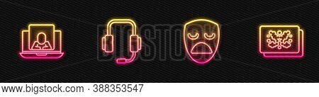 Set Line Drama Theatrical Mask, Psychologist Online, And Rorschach Test. Glowing Neon Icon. Vector