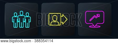 Set Line Users Group, Graph, Schedule, Chart And Team Leader. Black Square Button. Vector