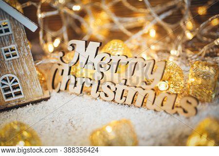 Merry Christmas Inscription. House, House Interior Decoration