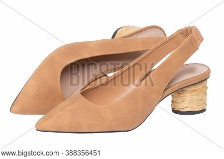 High Heel Pumps Isolated. Close-up Of A Pair Elegant Leather Female Sexy High-heeled Shoes.  Beige S