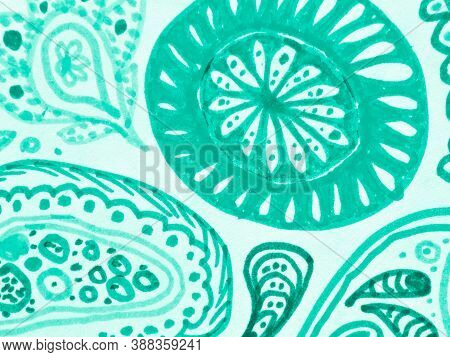 Spanish Ornamental. Monochrome Ethnic Design. Batik Wallpaper. Aquamarine Ornament Victorian. Marine