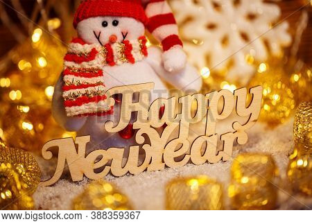 Happy New Year Wooden Text. Christmas Holiday Season Toy.