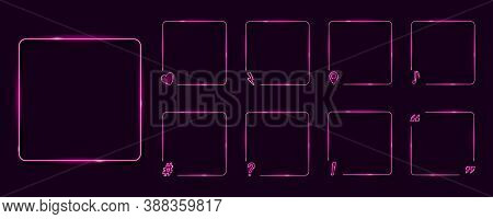 Set Of Neon Frames On Dark Background. Question Mark, Musical Note, Geo Location Pin, Hash Tag, Excl