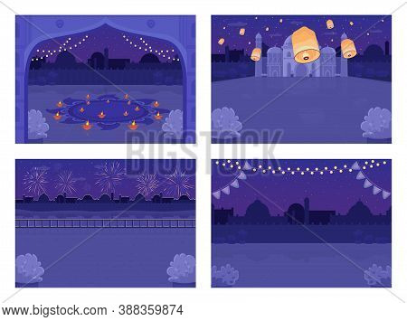 Night Hindu Holiday Celebration Flat Color Vector Illustration Set. Diwali Festival. Diya Candles. L