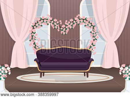 Elegant Wedding Photozone Flat Color Vector Illustration. Elegant Couch. Luxurious Sofa. Floral Arch