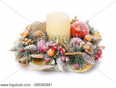 Christmas Still Life With Candle And Fir Tree Branches