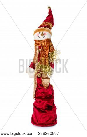 Smiling Snowman Toy Dressed In Scarf And Cap. Isolated