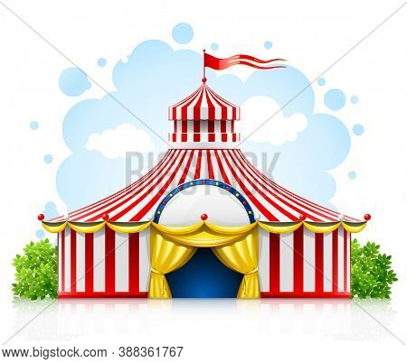 Striped strolling circus marquee tent with flag illustration isolated on white background.