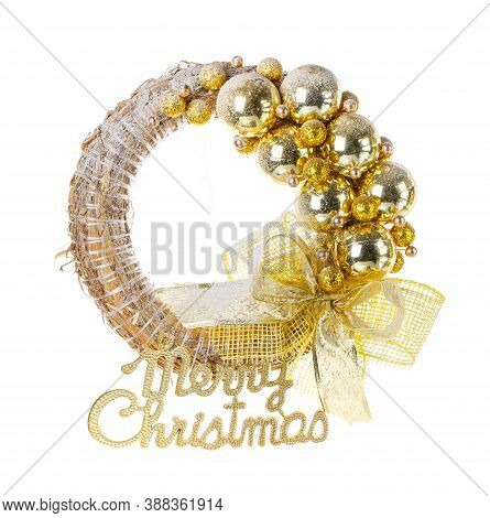 Decorative Christmas Wreath On The Door. Decoration For The New Year.