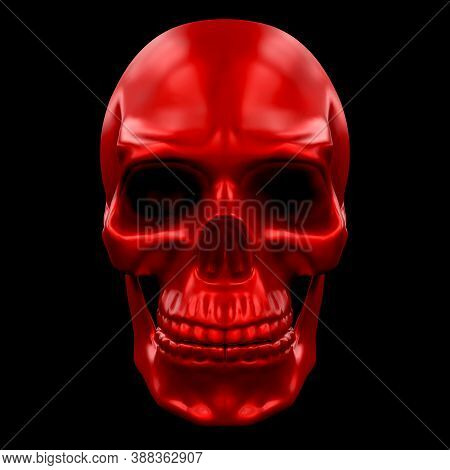 Human Skull Metallic Paint Red Color. Front View. 3d Render Illustration Isolated On Background.