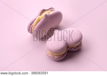 Two Pink Cakes Macarons In A Heart Form, Pastel Colors. Small Sweet Cakes