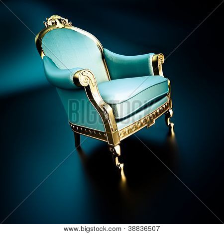 3D rendering of a vintage ornate chair