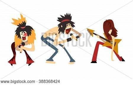 Rock Musicians, Rock Stars Characters Playing Electric Guitars And Singing, Rock Band Performing On