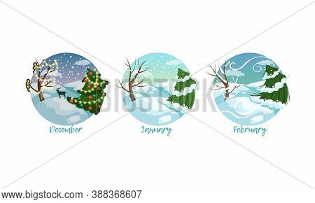 Three Months Of The Year Set, Winter Season Nature Landscape, December, January, February Months Vec