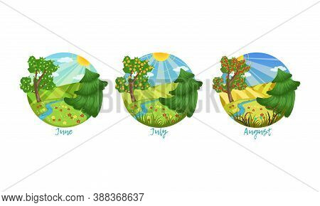 Three Months Of The Year Set, Summer Season Nature Landscape, June, July, August Months Vector Illus