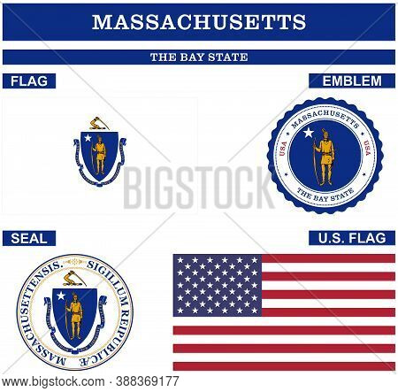 Massachusetts Symbol Collection With Flag, Seal, Us Flag And Emblem As Vector.