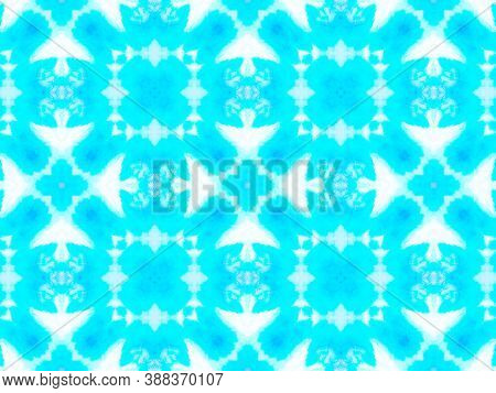 Seamless Aquarelle Pattern. Handmade Artistic Traditional Background. Blue And White Colors. Abstrac