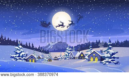 Reindeers Pulling Santa Claus, Winter Scenery Landscape, Countryside Houses With Lights, Snowy Trees