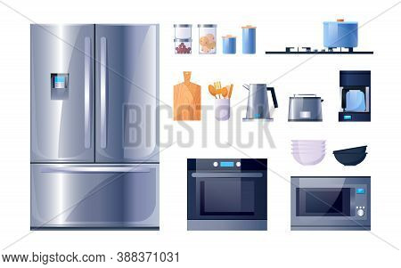 Kitchen Utensils And Appliances For Cooking, Vector Flat Icons Set. Kitchen Microwave, Stove Oven An